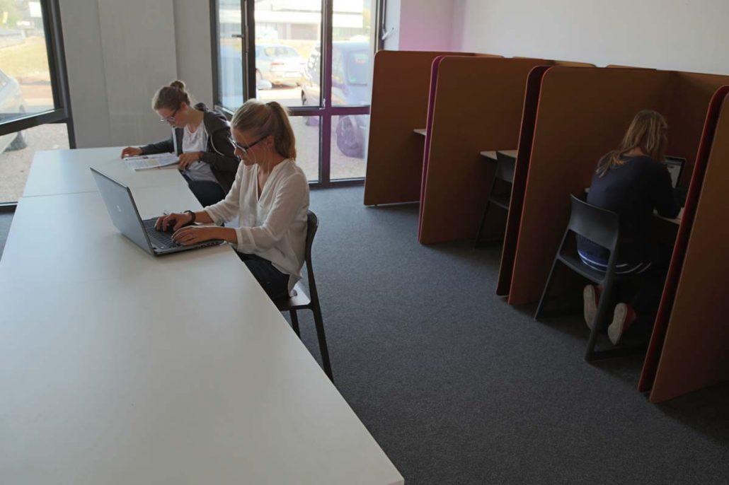 Studentinnen im Studierzimmer