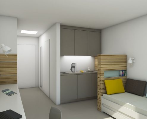 Einzel-Apartment im Studentenwohnheim