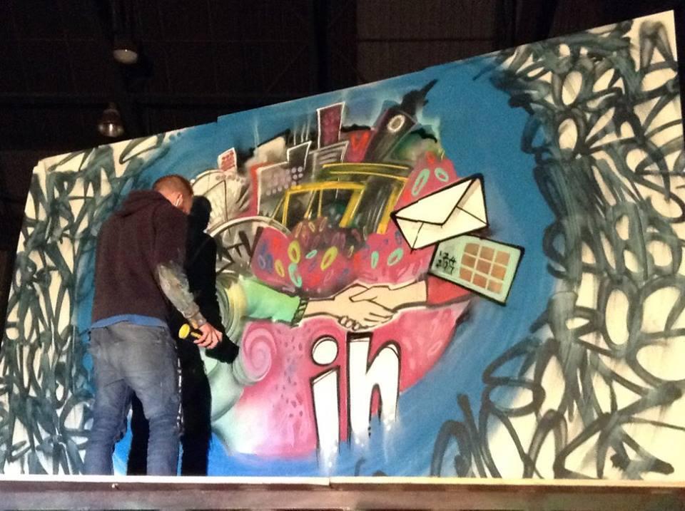 Wand mit Graffiti